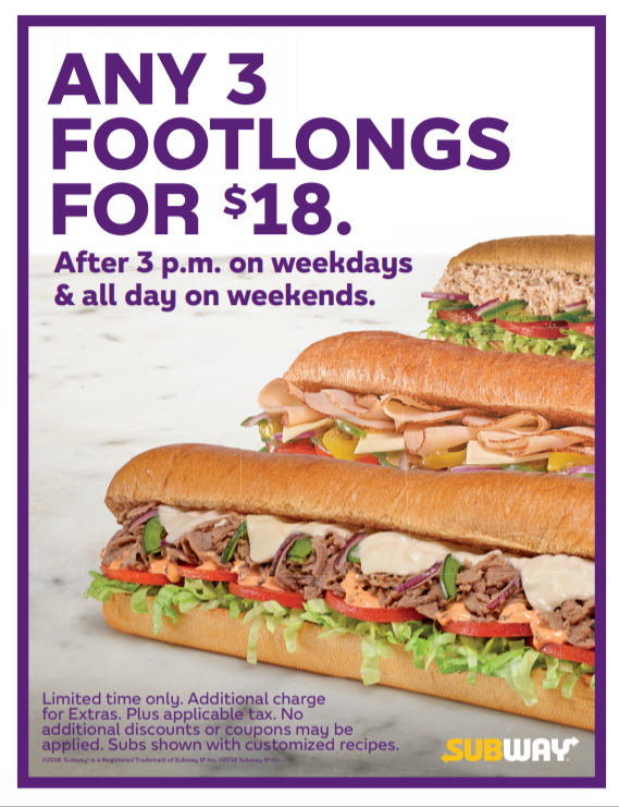 3 Footlong Subs For 1800
