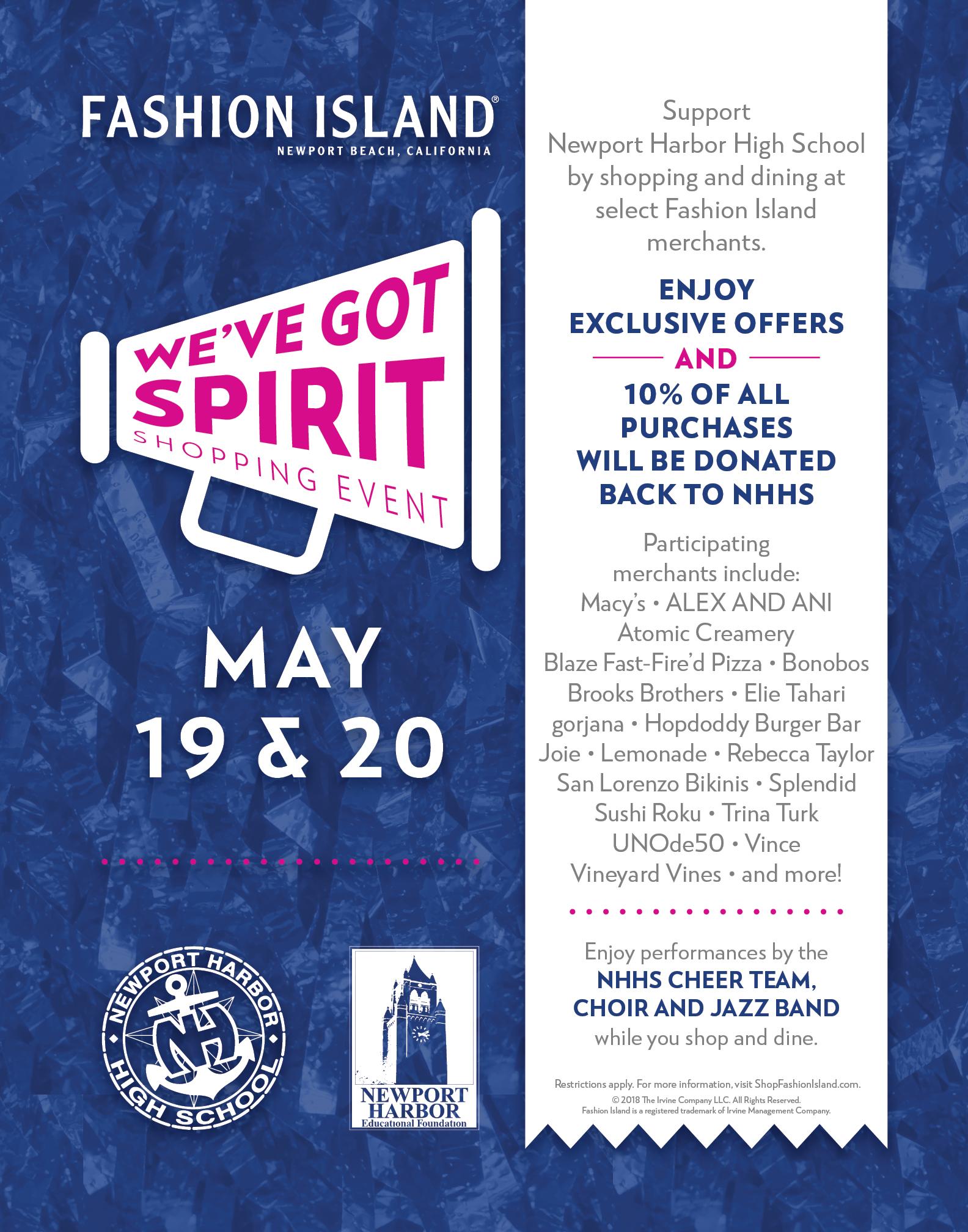 089021ffe80 Newport Harbor High School We ve Got Spirit Shopping Event